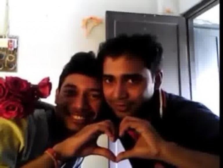 Gay friends kiss
