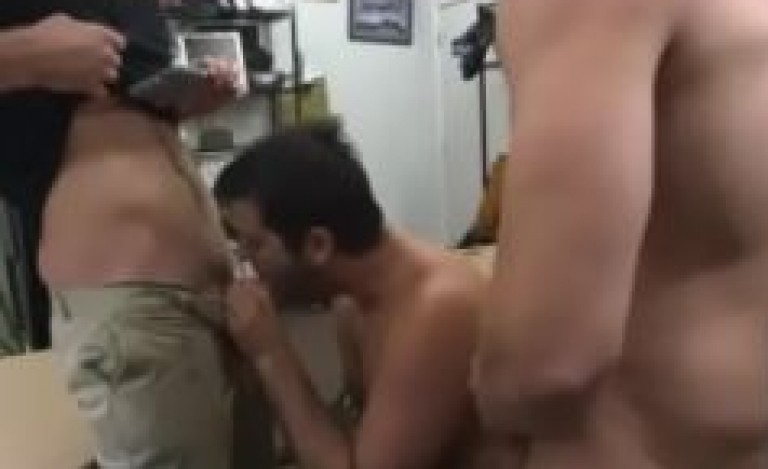 Office gay group threesome porn by 3 gay colleagues