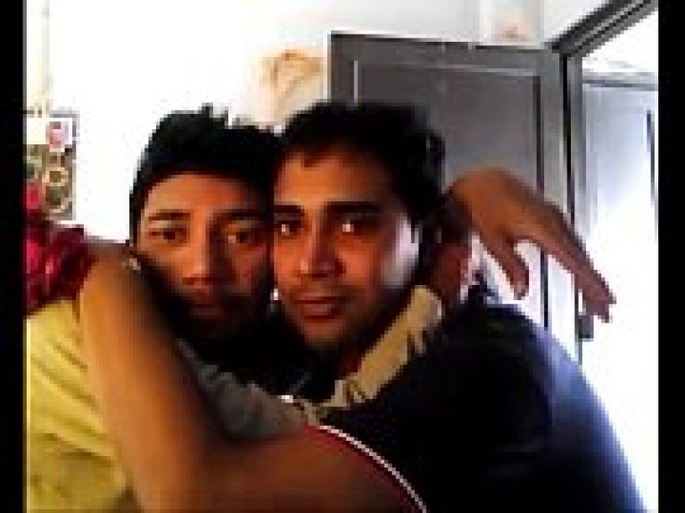Sexual college gay fun with erotic kissing and hot foreplay