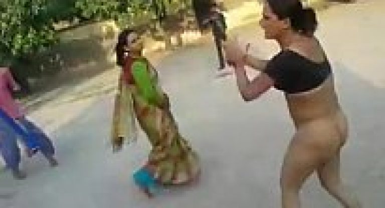 Indian hijra kinnar nude dance in group at outdoor city office