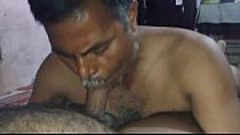 Free dick sucking gay porn video of Indian gay daddy with desi son