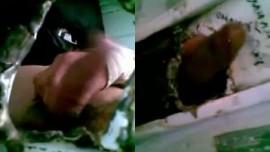 Masturbation using hole at wall by Delhi desi Indian gay